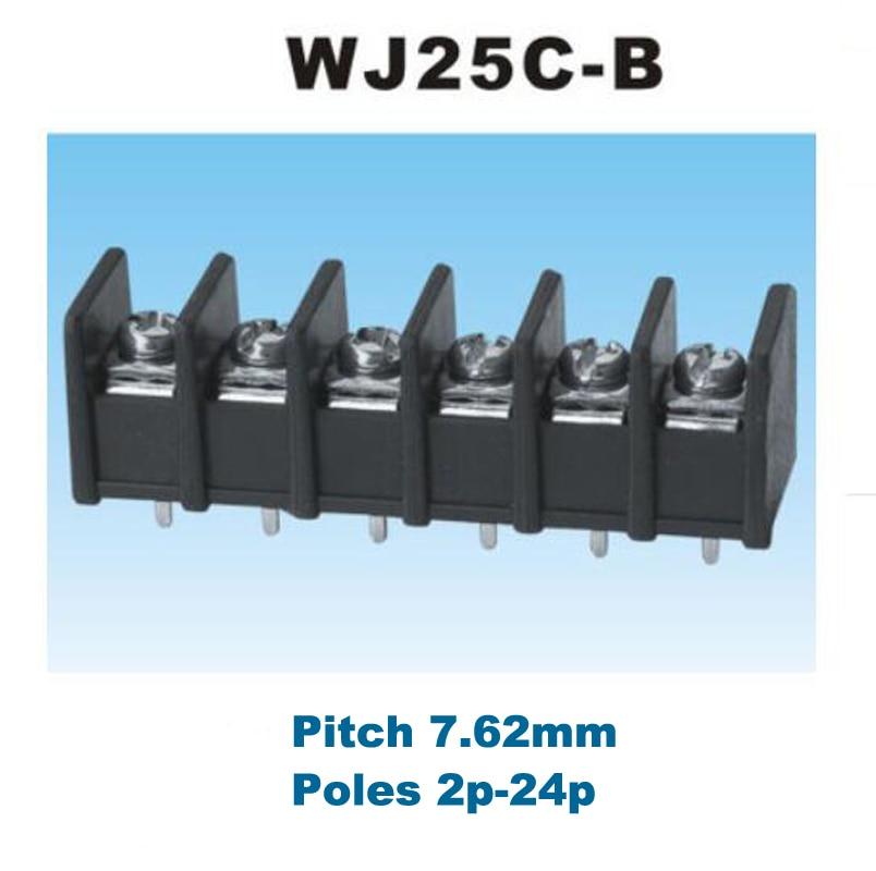 10 Uds Pitch 7,62mm tornillo de barrera Bloque de terminales Pcb Pin recto 2/3/4/5/6P conectores morsettera WJ25C-B cable 300V 15A 14AWG