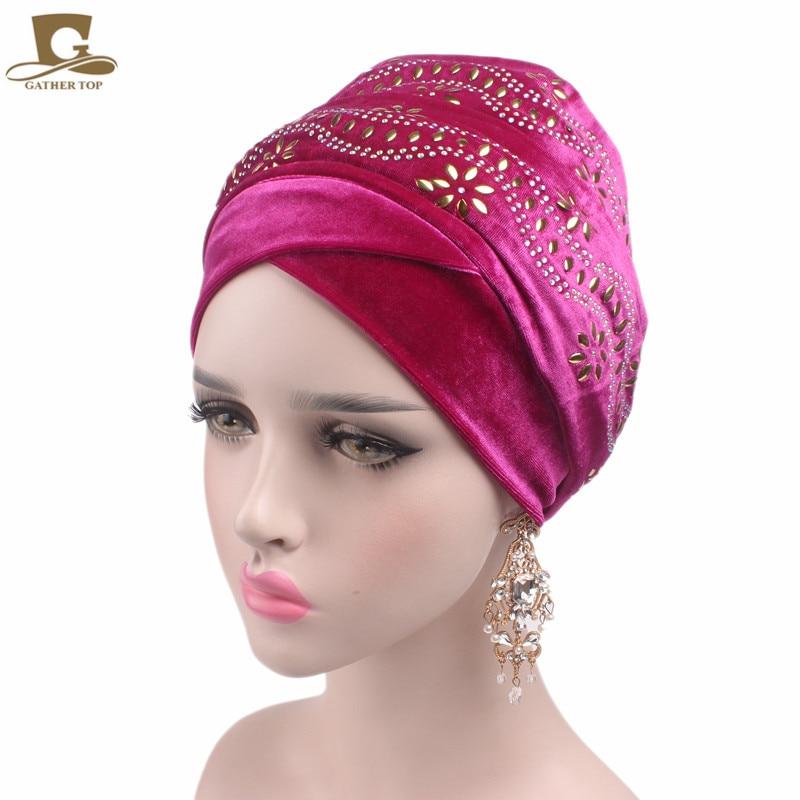 New women elegant Embellished flower nigerian velvet turban Long headscarf Head Wraps hijab cap