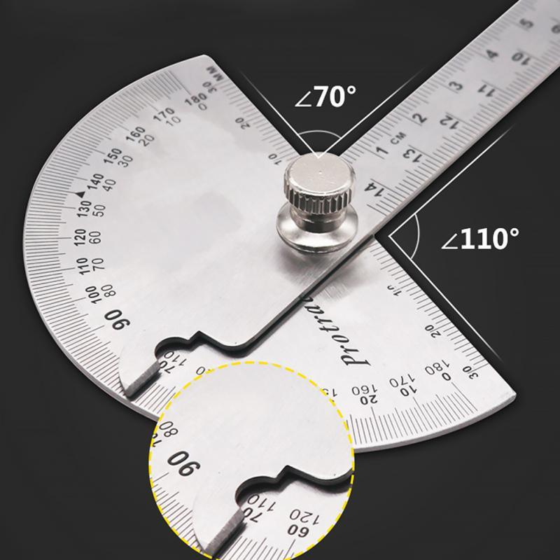 14,5 см 180 градусов Регулируемый транспортир Многофункциональный из нержавеющей стали с круглой головкой угловой линейки Математика измерительный инструмент