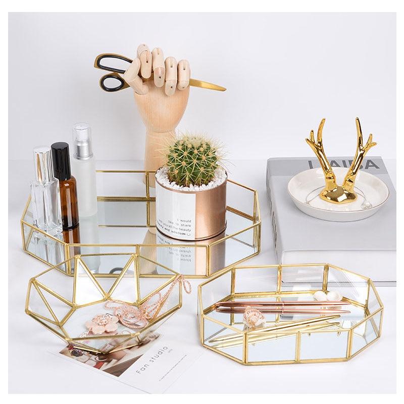 مستطيل الحطام فتاة مستحضرات التجميل والمجوهرات سطح المكتب الجدول سلة التخزين التخزين المنزلية أنيقة ارتفع الذهب التعادل جمع سلة