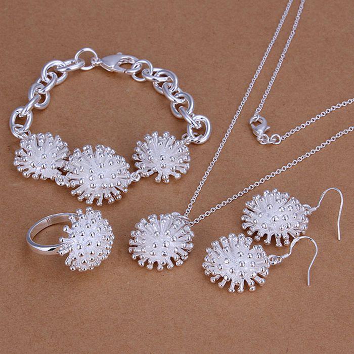 Juegos de plata 925 conjuntos de joyería de moda de plata 925 juegos de fuegos artificiales joyería al por mayor envío gratis aiqo LS250