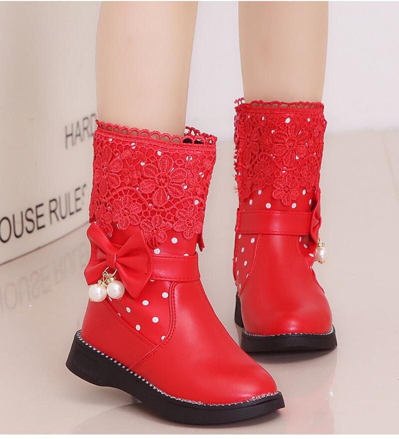 SKHEK Girls Boots New Autumn Winter Fashion Princess Kids Soft Sneakers Child Snow Spring PU Leather Children Shoes