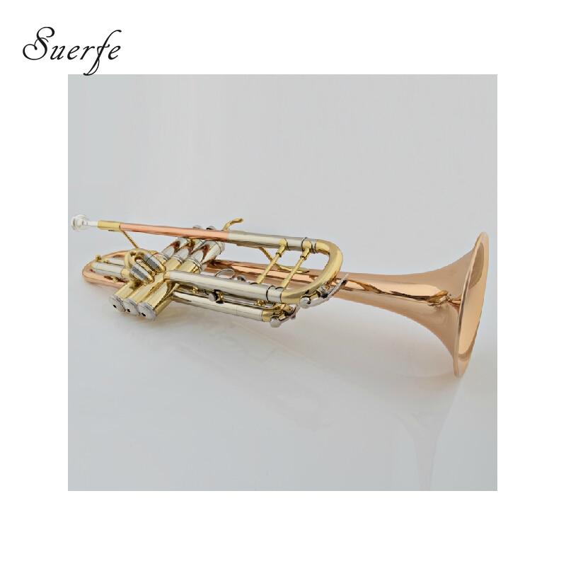 Bb trompeta oro latón Leadpipe campana Monel Piston con ABS caja Instrumentos musicales profilsionais