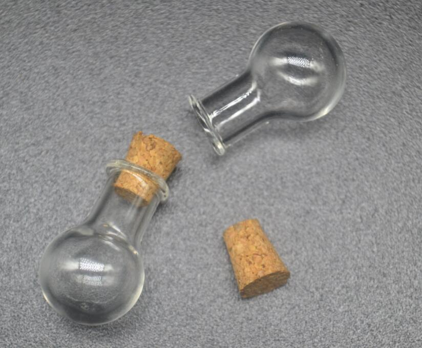 100 unids/lote de botellas colgantes con forma de lámpara, Mini botellas con gancho de metal para ojos, frascos de vidrio, regalo de boda, 7 colores mezclados
