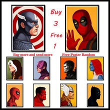 Affiche murale en papier revêtu avec personnage   Autocollant héroïque du côté de Marvel, autocollant mural de décoration de salle de séjour sans cadre