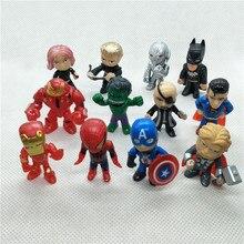 12 pcs/lot PVC les Avengers super-héros Q Version fer homme Thor Hulk Captain America Spiderman figurine modèle jouet poupée
