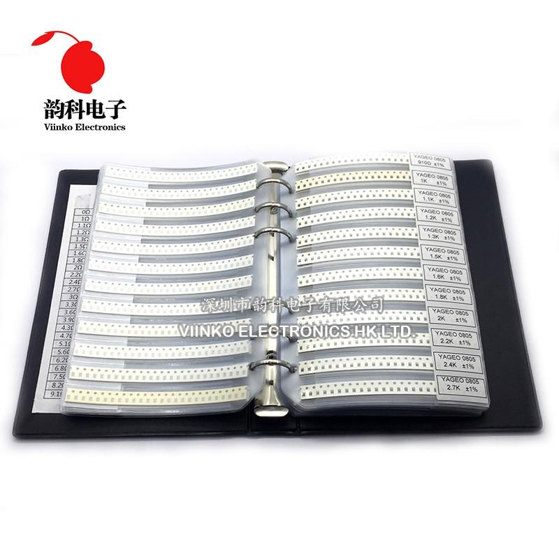 0805 1% SMD Resistor Sample Book 1/8W 0R-10M 170valuesx25pcs=4250pcs Resistor Kit 0R~10M 0R 1R-10M