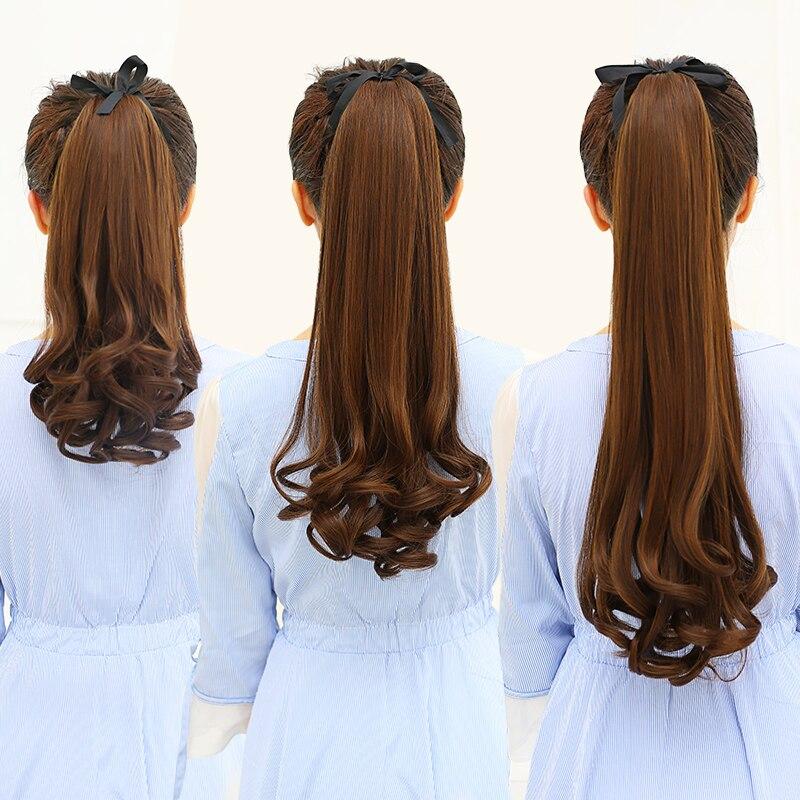 WTB largo ondulado cordón sintético Cola de Caballo para mujeres Clip en extensiones de cabello rizado estilo Hairstyle 3 tamaños