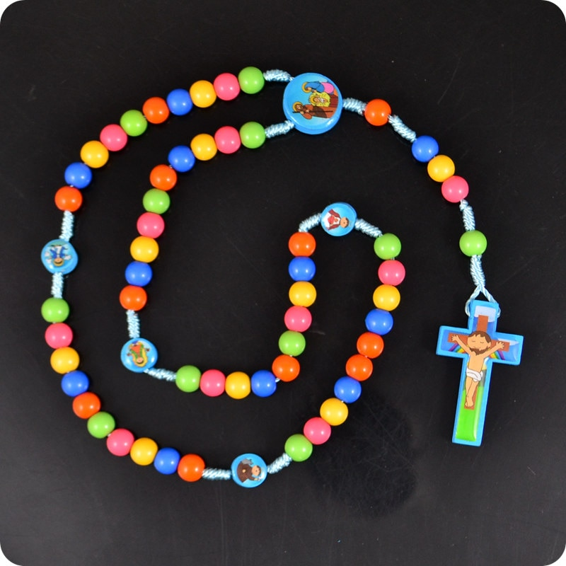 Новое ожерелье с подвеской в виде персонажей мультфильма «Иисус», «четки», модные религиозные украшения для детей и девочек