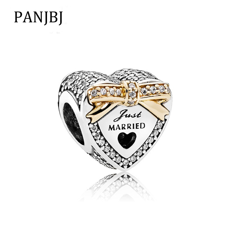 New Bead Alloy Gold Wedding Heart Charm Fit Original Pandora Bracelet Necklace DIY Women Jewelry