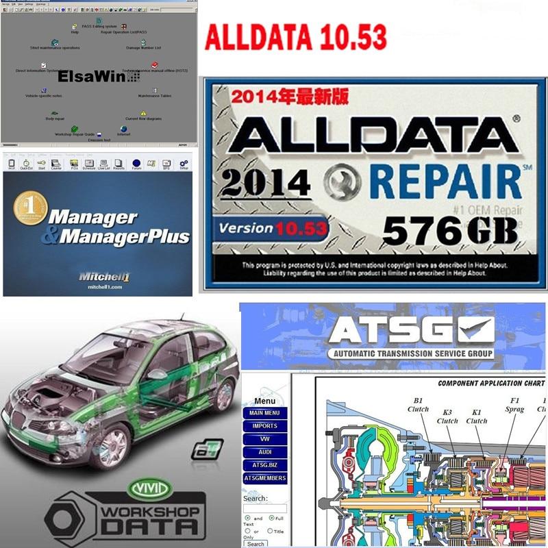 Nuevo Alldata V10.53 50 softwares en 1000GB, unidad de disco duro, reparación automática, alldata mit/chell OD5, datos de taller vivos, atsg, coche, oferta