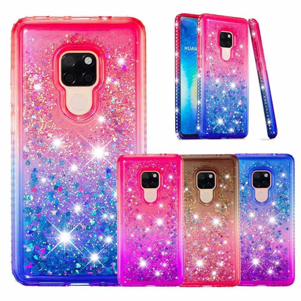 Para Huawai mate 20 Pro Diamante de imitación líquida ostentosa arenas movedizas funda de teléfono de silicona suave para Huawei Mate 20 Lite