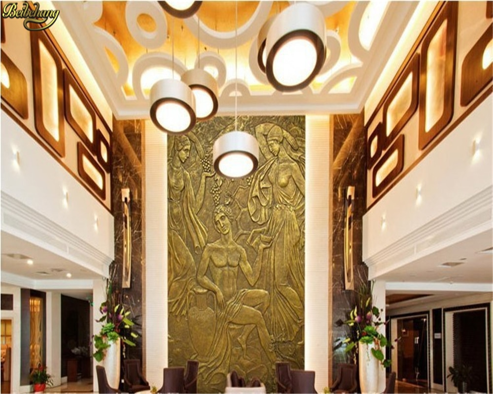 beibehang wallpaper European Sculpture like retro art 3d living room bedroom TV backdrop mural for walls