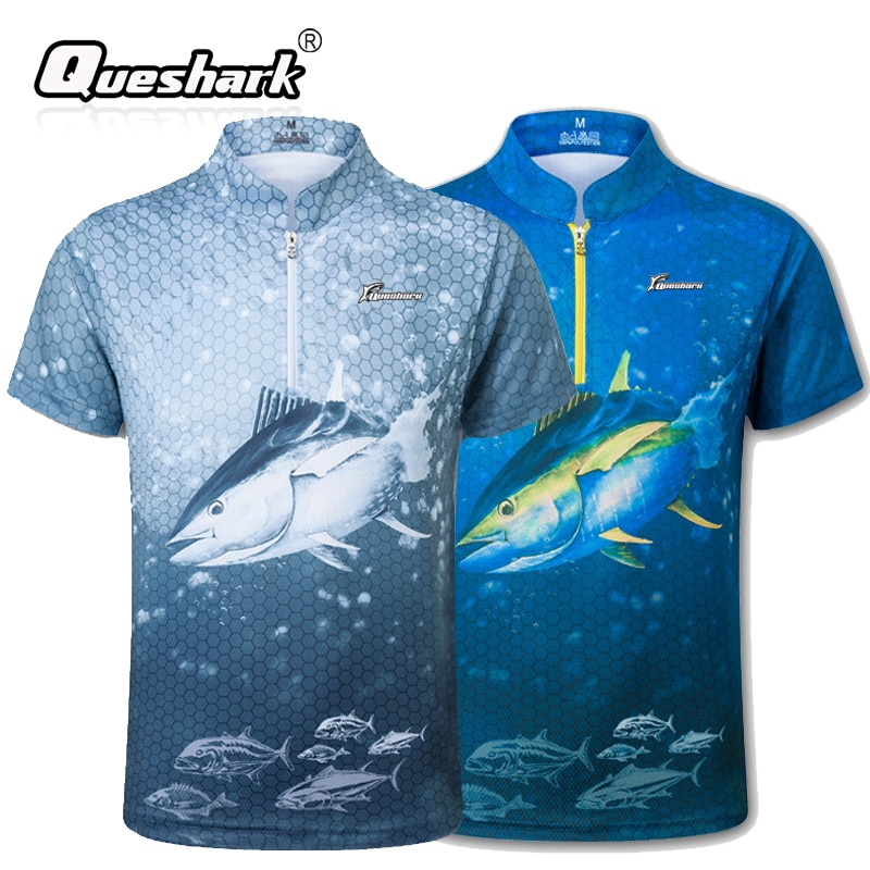 Queshark UV Protection Stand collar Men 3D Printed Fishing T-shirt Quick Dry Short Sleeves Sport Shirt For Men Fishing Clothing