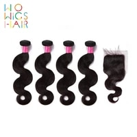 wowigs hair brazilian hair remy hair body wave 4 3 bundles deal with top lace closure natural color 1b