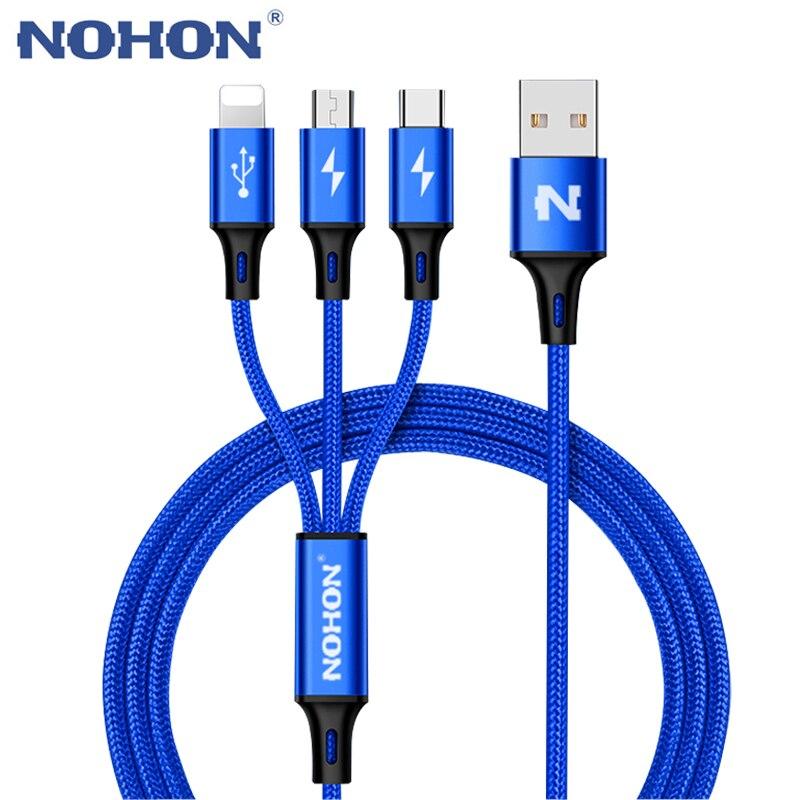 Nohon 3 em 1 tipo c 8pin micro cabo usb para iphone 8x7 6 s plus ios 10 9 8 samsung nokia usb cabo de cabos de carregamento rápido