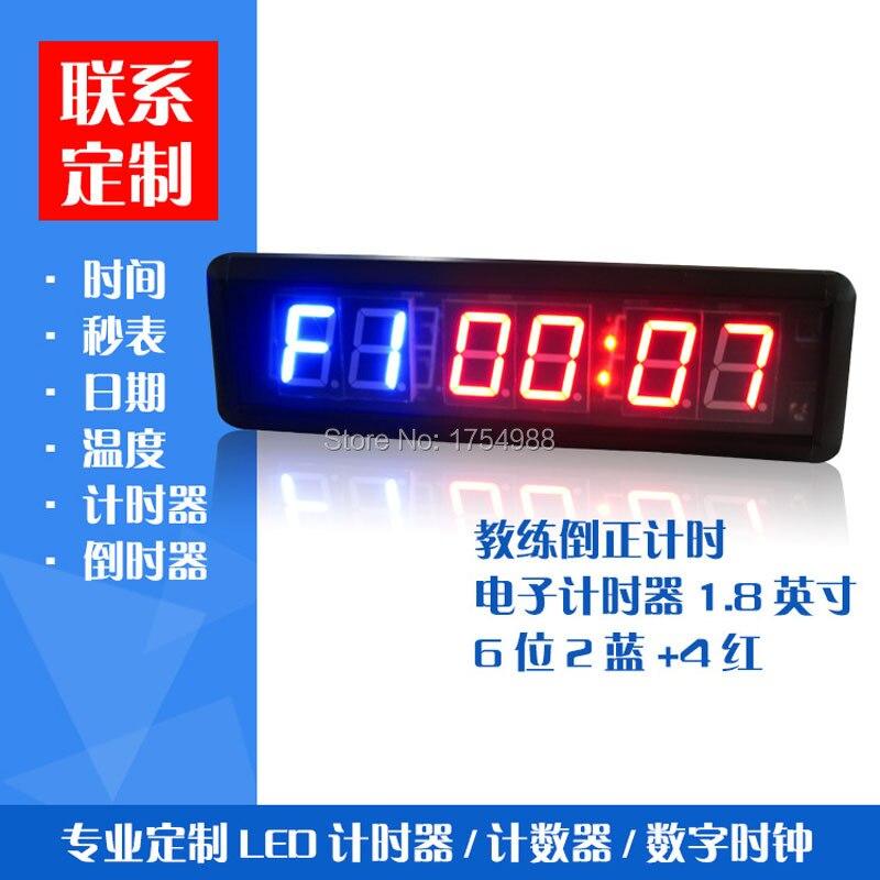 Dhl gratis 1,8 pulgadas Gym Crossfit temporizador LED intervalo tiempo de entrenamiento y tiempo de descanso alternadamente cuenta regresiva como un cronómetro