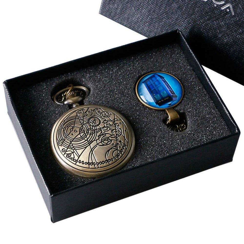 2020 bronce Doctor Who tema antiguo reloj de bolsillo de cuarzo con el Dr. Who símbolos diseño colgante de cúpula de cristal paquete Set Unisex