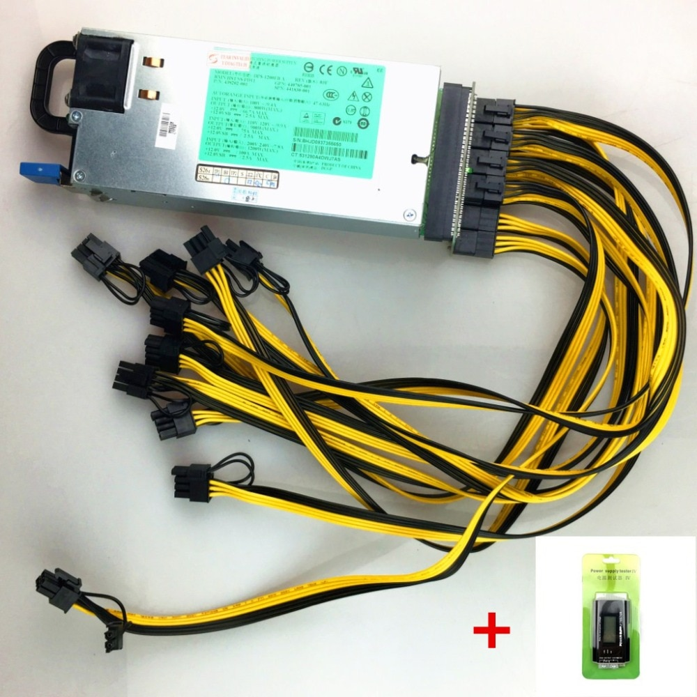 1200 W Miner alimentation DPS-1200FB A 438202-002 440785-001 DL580G5 1200 W PSU ethereum apw3 BTC Asic Bitcoin Miner boîte de sortie