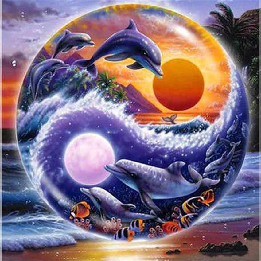 5d pintura diamante yin e yang taiji golfinho diy diamante bordado conjunto completo 5d diy diamante mosaico venda strass imagem