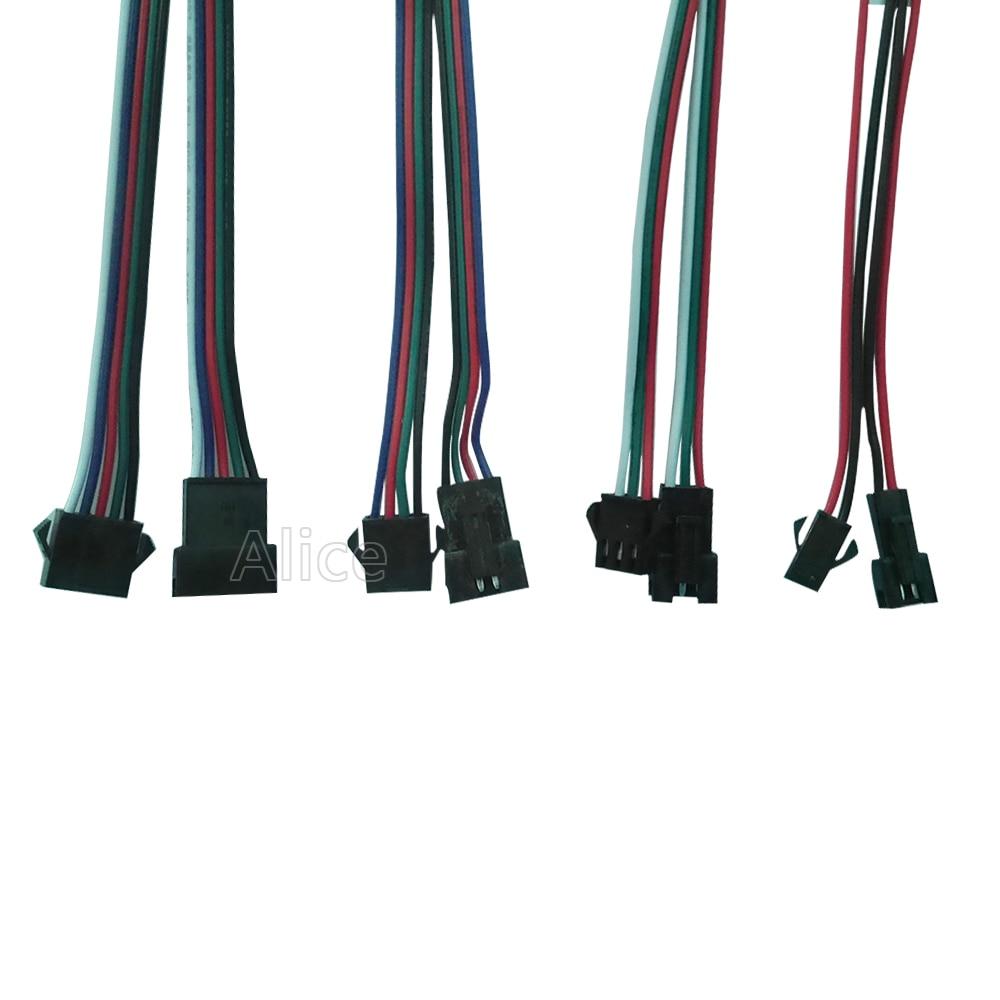 2pin 3pin 4pin 5pin JST светодиодный коннектор, 1 пара ~ 100 пар мужской и женский коннектор для 3528 5050 WS2811 WS2812 светодиодный светильник