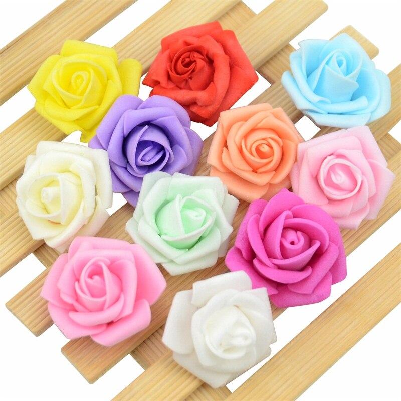 60 unids/lote 4cm Mini Flor de espuma de PE Artificial cabezas hechas a mano Diy boda decoración del hogar fiesta flor falsa bola para manualidades