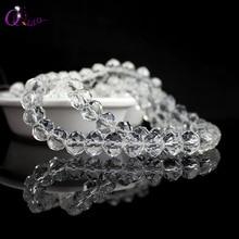 Mode schmuck perlen klar kristall runde perlen perlen 4mm 6mm 8mm 10mm 12mm runde rondelle glas perlen für Schmuck machen DIY