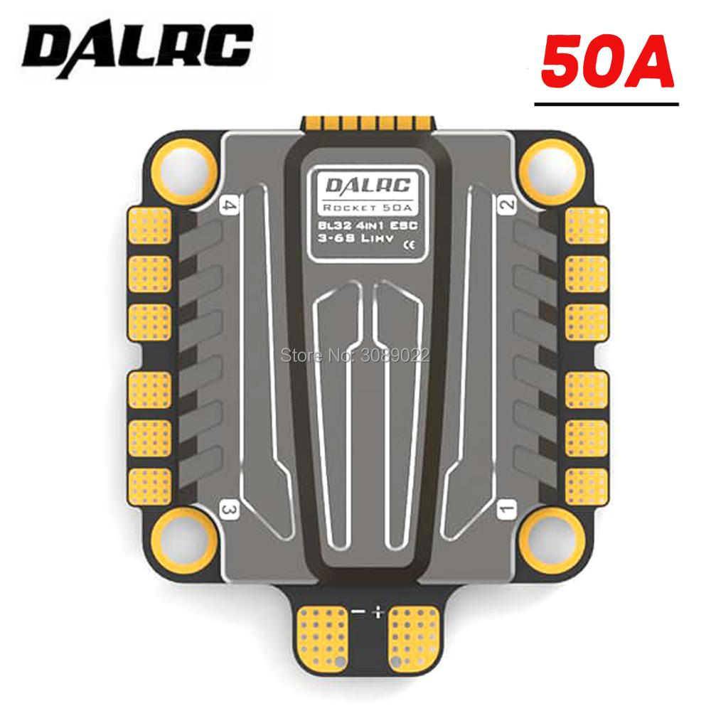 DALRC Rocket 50A 4 en 1 ESC 3 S-6 S Blheli_32 ESC soporte Dshot1200 Multishot sin escobillas ESC & daprc F722 controlador de vuelo DUAL