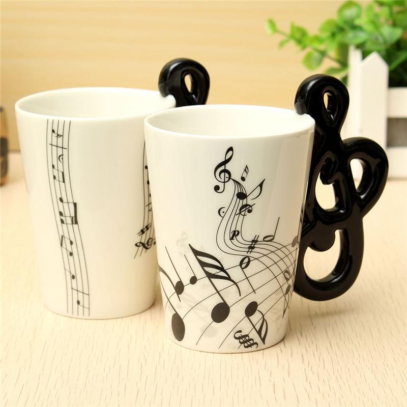 ¡Caliente! Stave Music Notes taza para té de cerámica taza de café leche artículos musicales porcelana en utensilios de bebida tazas botella de agua para Oficina Casa