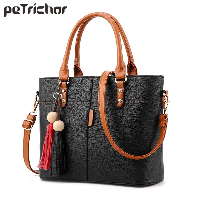 Petrichor Large Capacity Tassel Tote Bag Women Soft Leather Ladies Handbag Crossbody Messenger Bags Female Purse Shoulder Bag