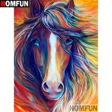 "HOMFUN Completo Quadrado/Rodada Broca 5D DIY Pintura Diamante Cor ""cavalo"" 3D Diamante Bordado Ponto Cruz Casa decor A19720"