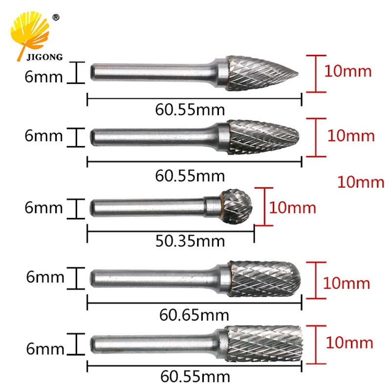 JIGONG 5 قطعة/المجموعة CNC أداة المطاحن الاكسسوارات التنغستن كربيد الروتاري الملف النجارة الطحن القاطع تلميع رئيس 6x10mm