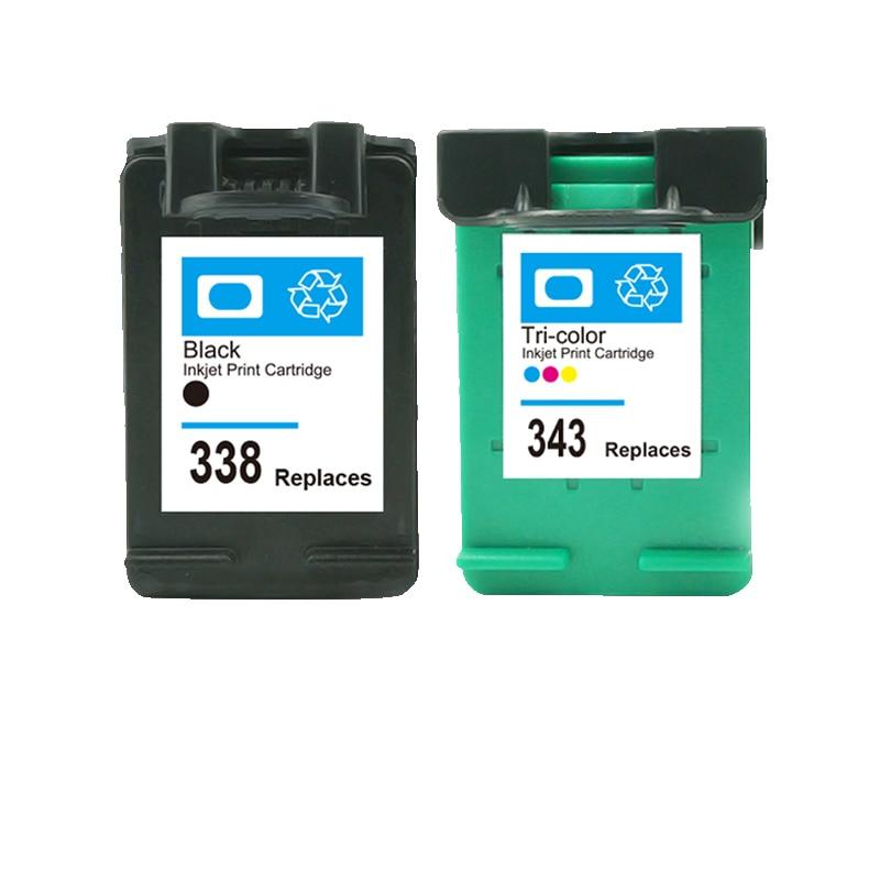 LuoCai cartuchos de tinta compatibles para HP338 343 para HP PSC 1500, 1513, 2300, 2600, 2610 Photosmart C3100 C3110 C3150 C3180 338, 343