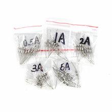 50 pièces 5 Valeurs Fusible en Verre Rapide Kit Avec Broches 3x10mm F0.5A F1A F2A F3A F5A 250 V 0.5A-5A Assortiment Ensemble
