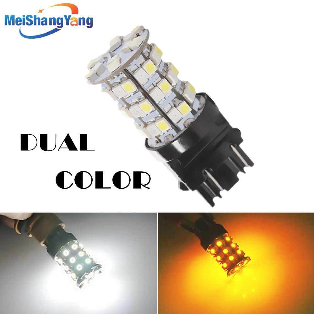 3157 switchback 60 SMD white amber rear Signal LED lamp p27 / 7 w led car brake lights bulbs car parking light source 12 V
