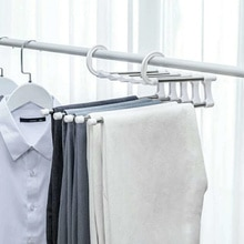 Multifunction Dual Hooks 5 Ways Pants Trousers Hanger Rack Save Space Cloth Storage Rack Black ABS Stainless Steel
