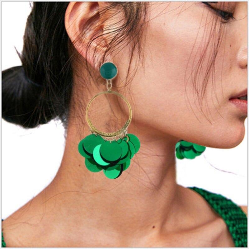2020 Fashion Female Charm Sequin Tassel Earrings New Geometric Black Green Blue Round Shiny Dangle Earring Jewelry For Women