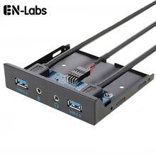 En-Labs 2 Port USB 3.0 Hub PC 3.5 ön Panel ses jakı mikrofon, USB 20 pin anakart çift USB 3.0 dişi Splitter