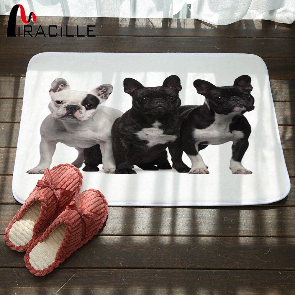 Miracille entrada alfombra de lana coral encantador negro estampado de Bulldog Francés cocina Goma de baño antideslizantes alfombras