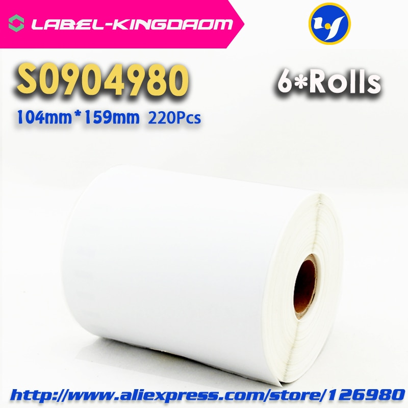 "6 Rolls Dymo Compatible S0904980 etiqueta 104mm * 159mm 220 piezas/rollo Compatible para LabelWriter 4XL impresora etiqueta de envío de 4 ""X 6"""