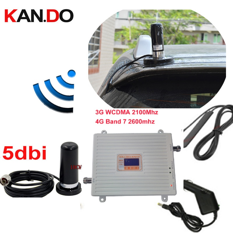 car use 3G 4G booster repeater set w/ antenna 3G WCDMA &4G amplier BAND7 LTE 4G booster 22dbm 65dbi