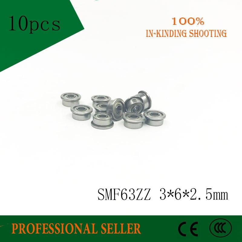 10 pcs SMF63 ZZ aço Inoxidável 440C SMF63ZZ MF63ZZ DDLF-630ZZ F673ZZ 3*6*7.2*2.5*0.6mm Flange Da bucha do rolamento de esferas