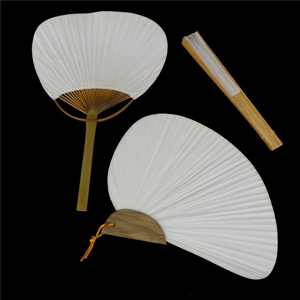 Abanico de mano de papel elegante y plegable en color blanco para bodas, 3 tamaños A;23*13cm.B38*24,5 cm,C 25,5*20cm