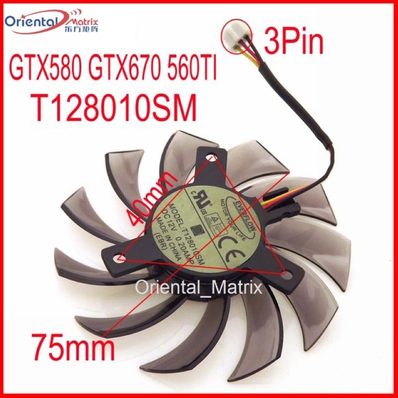 Envío Gratis T128010SM 75mm 40x40x40mm 3Pin para Gigabyte GTX580 GTX670 560TI gráficos ventilador de refrigeración