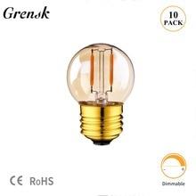 Teinte or G40 Mini lampe Globe 1W 2200K Edison Vintage LED Filament ampoule E27 E12 220V E26 110VAC guirlandes lumineuses LED à intensité réglable