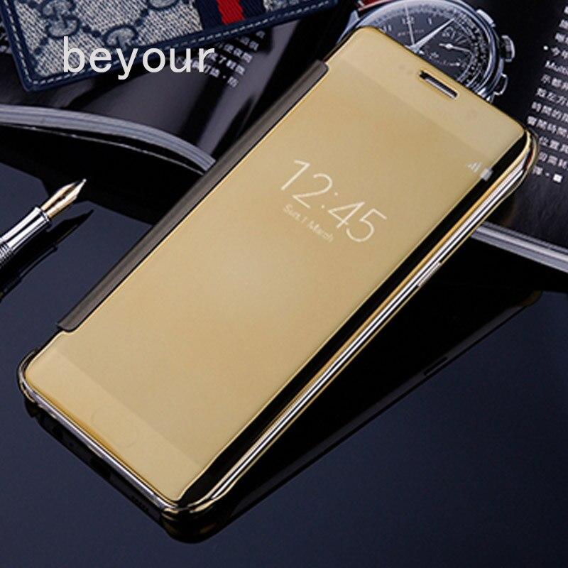 Capa flip de luxo inteligente, capa flip de couro para samsung galaxy s6 s7 edge s8 s9 s10 plus note 8 9 10 plus tampa de visão clara espelhada