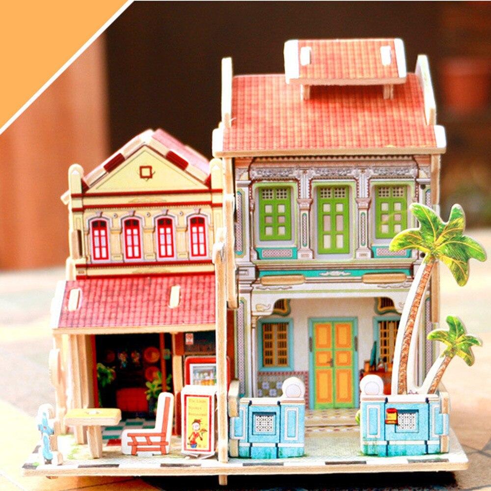 DIY US Highway Gas Station Miniature House Wooden British Bar Bridal Tea House Box 3D Puzzle Turkish Villa Creative Gift Toy