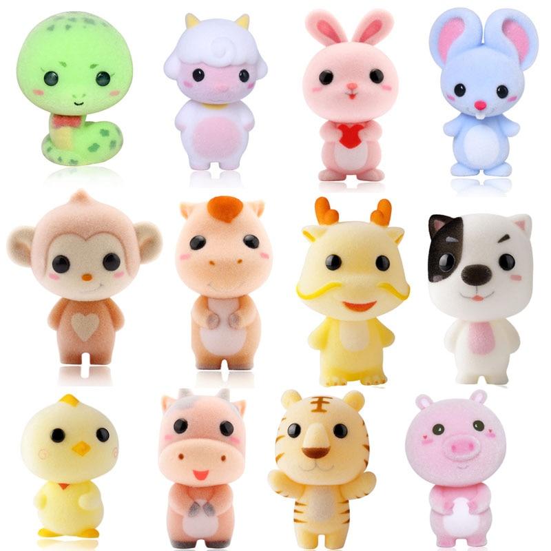 12 desgin Doll Kawaii PVC Flocking Doll Furry Tiger Mini Animals Toys for Children Flocking Toy for Girls Christmas Gift TOY073