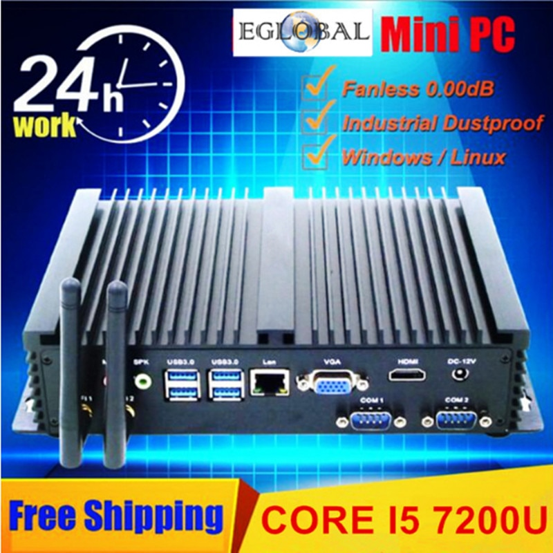 2018 Eglobal New Fanless Industrial Mini PC Win10 Core i3 6006U/Core i5 5250U/Core i5 6200U/Core i5 1*Lan 2*RS232 Coms