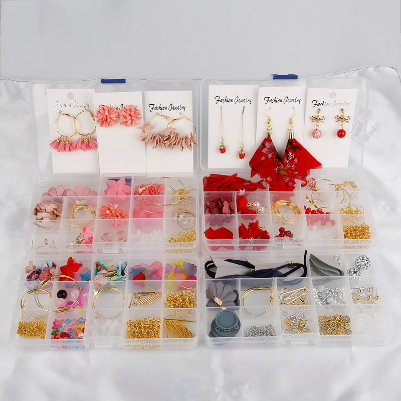 1 caja de abalorios Multicolor con forma de aro de borlas, broches de gancho para la fabricación de pendientes DIY, accesorios para joyería
